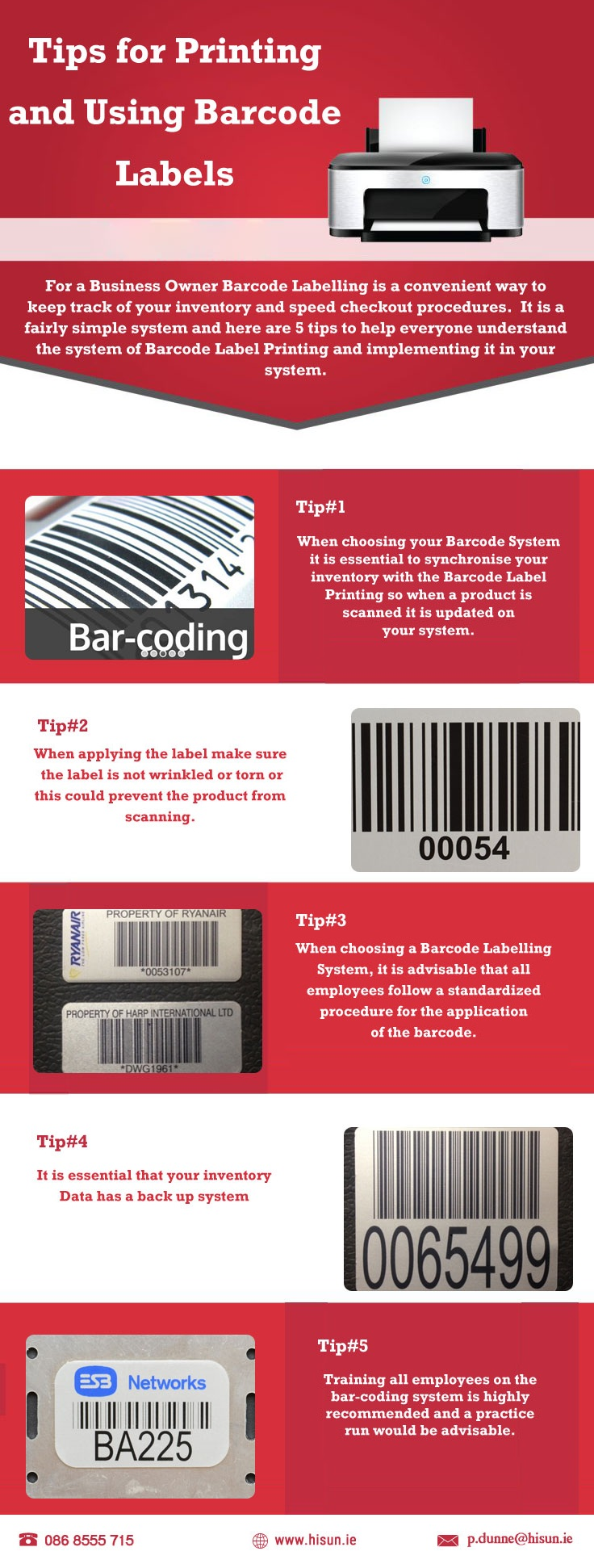 Tips for printing using barcode labels